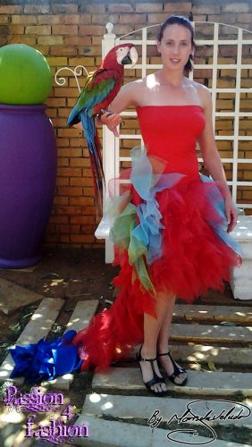 Eclectic dresses with parrots as inspiration by Marisela Veludo - Fashion Designer